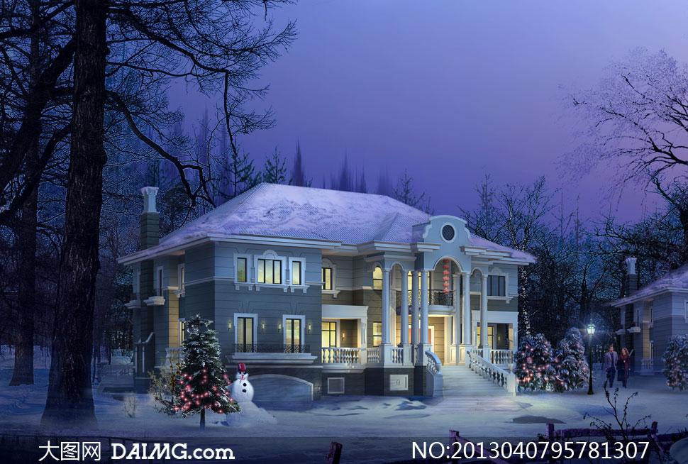 效果图景观图后期设计水晶石源文件建筑设计建筑物欧式别墅树木树林