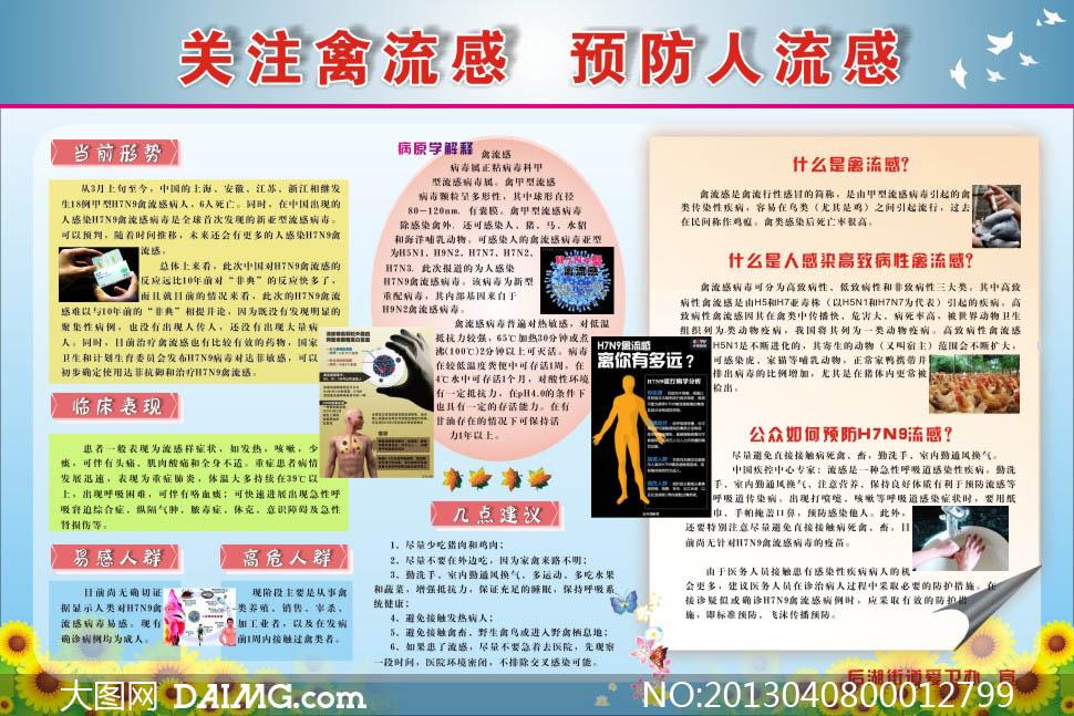 预防禽流感社区展板矢量素材图片