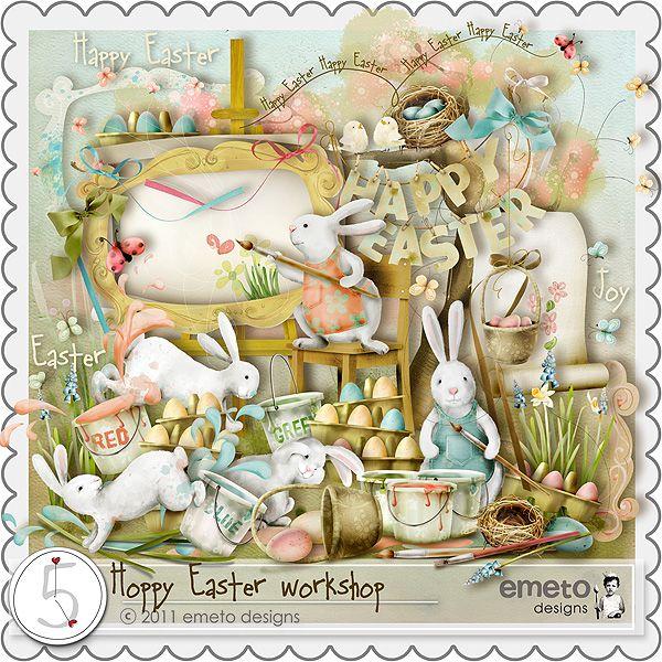 可爱小动物和复活节装饰图片素材