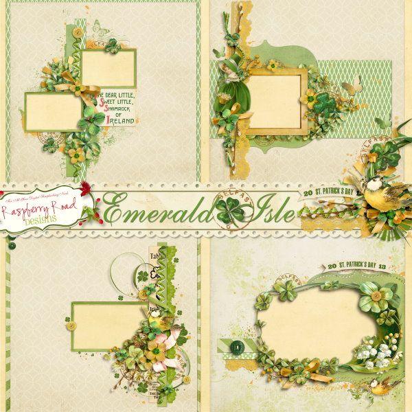 四叶草和复古边框背景图片素材