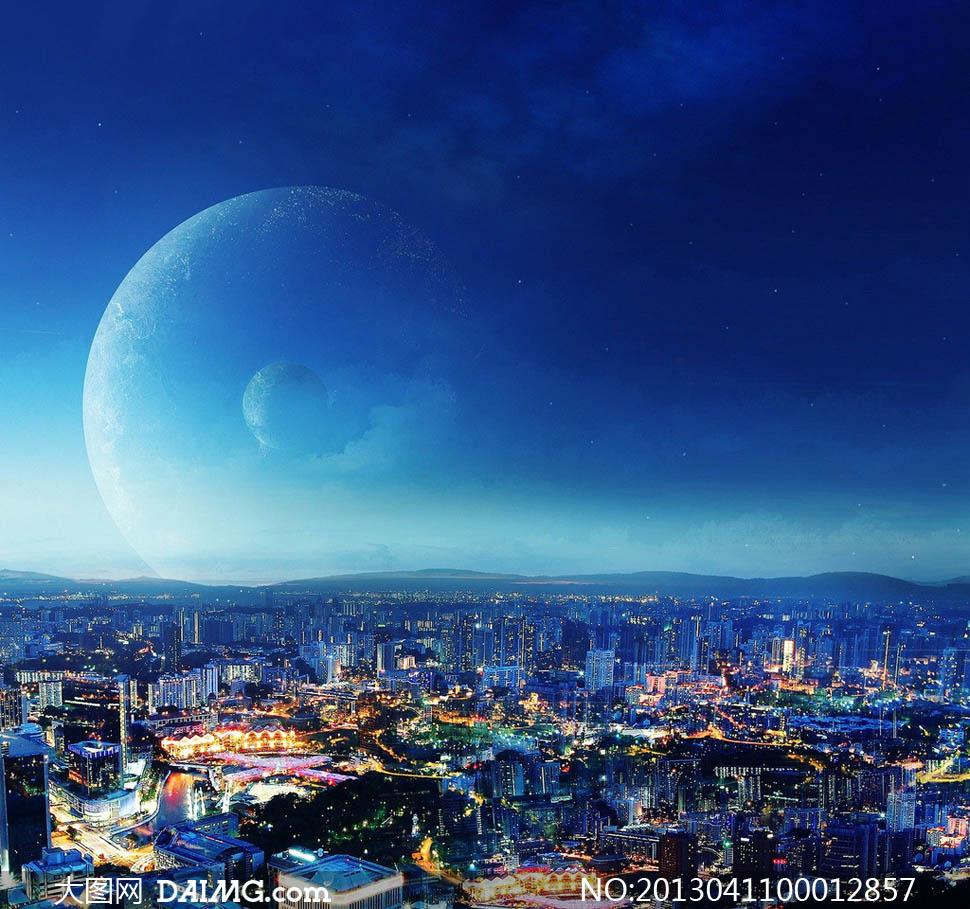 星空下的城市夜景高清图片