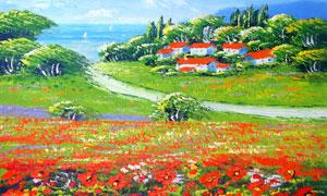 山村油画风景图设计图片素材