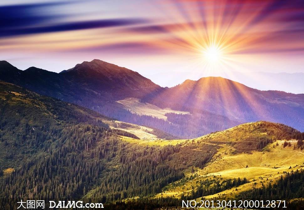 关键词: 金色大地日出阳光光线早晨晨光朝阳山脉草地森林树木美景美丽图片