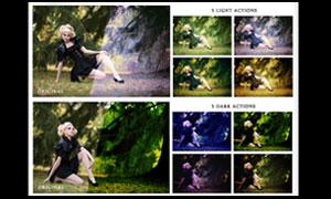 美女照片绚丽的单色效果调色动作