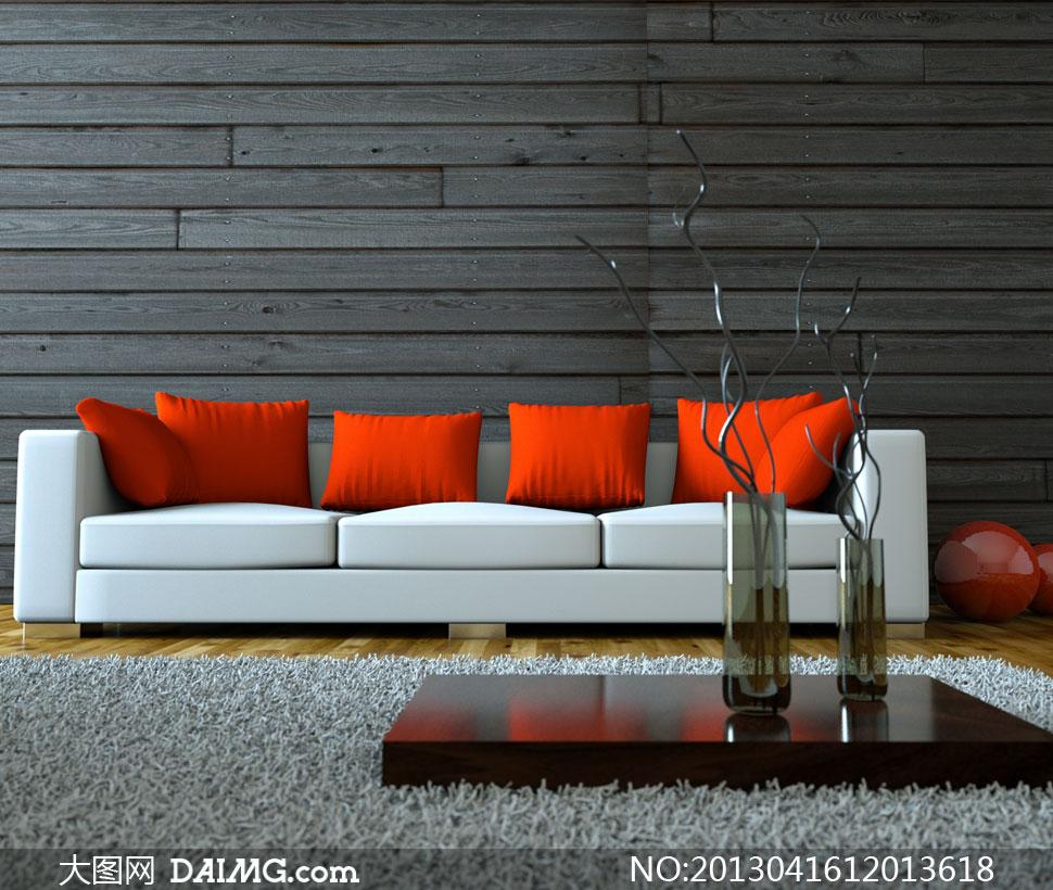 效果圖裝修家具陳設擺設陳列木板墻木紋藝術品木地板紅色組合沙發球體