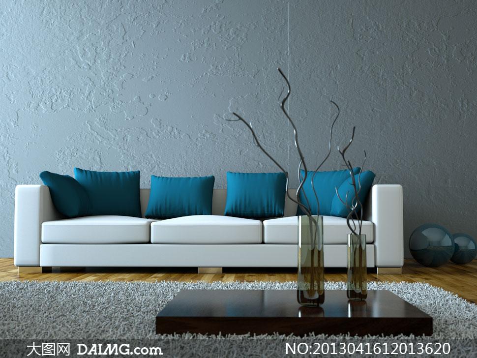 组合沙发与抱枕地毯等摄影高清图片