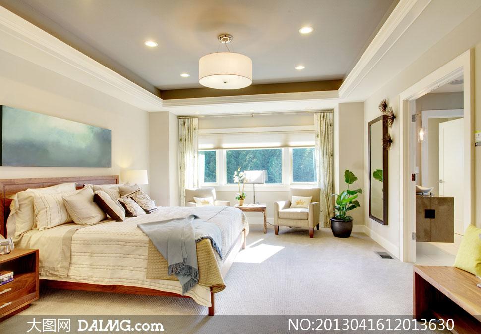 卧室房间效果内景摄影高清图片