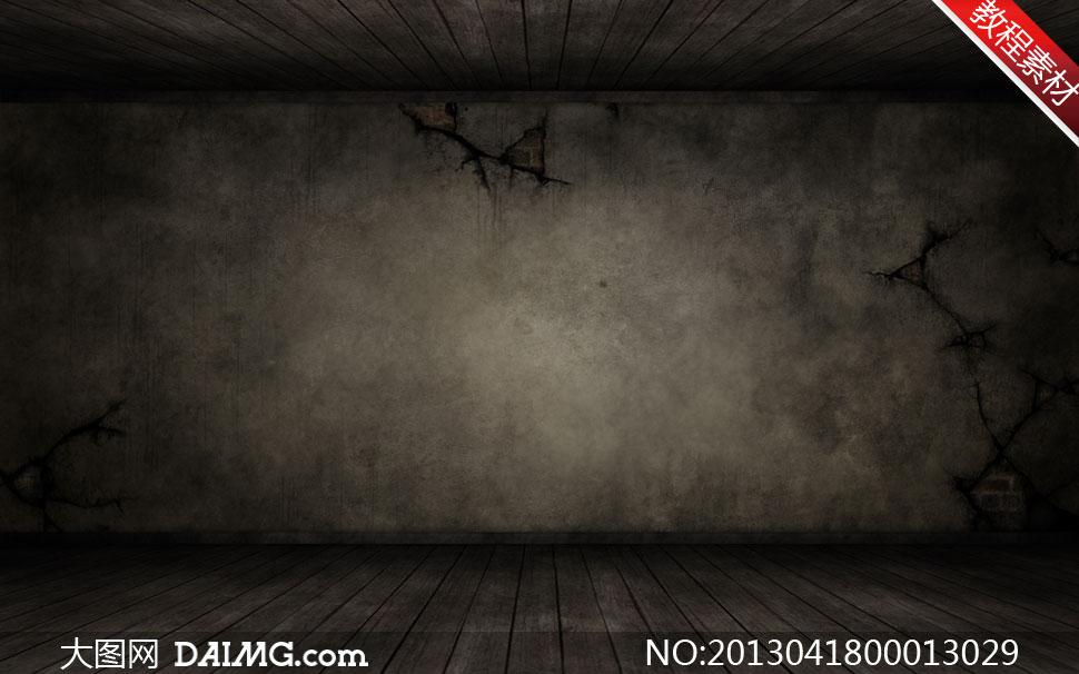 素材 关键词: 颓废破旧肮脏裂痕墙面木地板木板地板