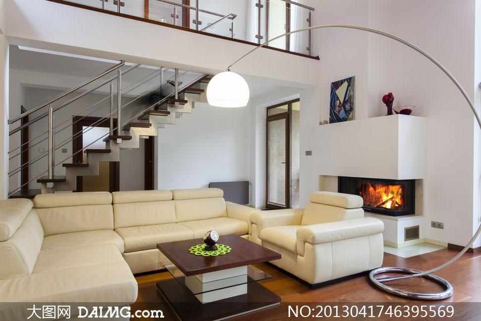 复式结构别墅客厅内景摄影高清图片
