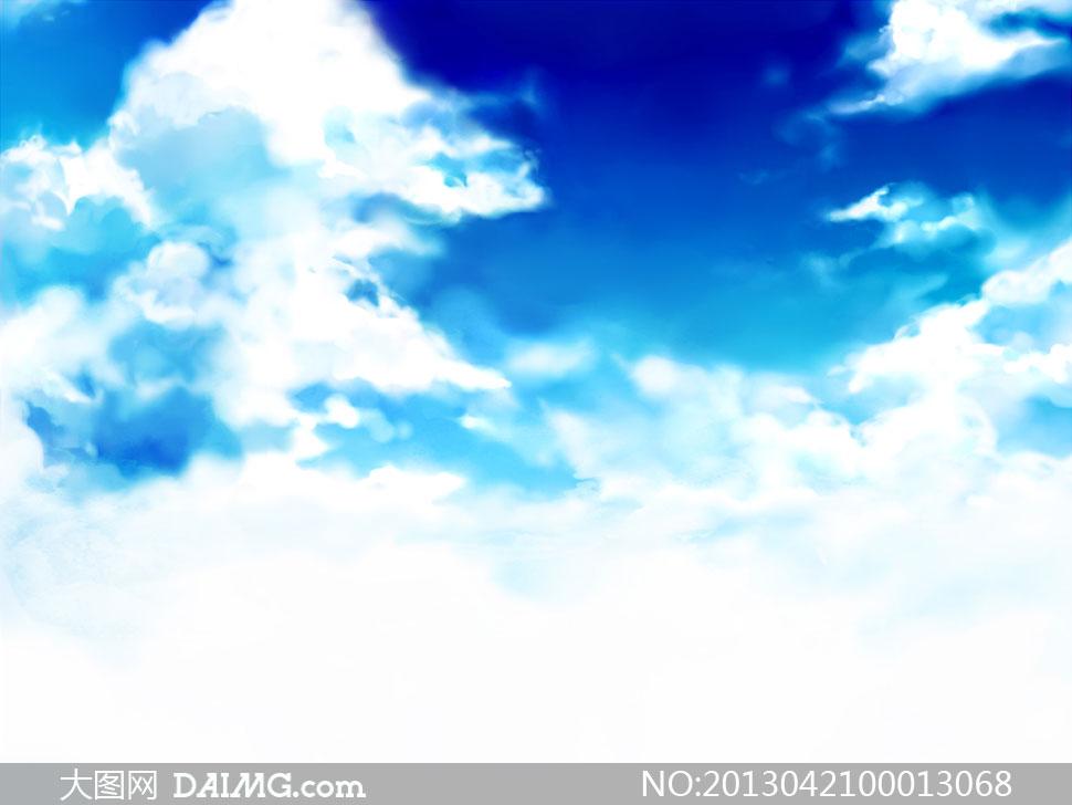 水彩效果的蓝天白云设计图片素材