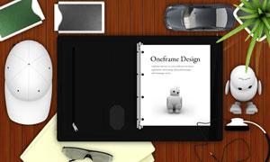 桌面上的鼠标文件夹等PSD分层素材