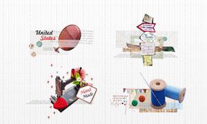 缝纫机针线纽扣等物品PSD分层素材