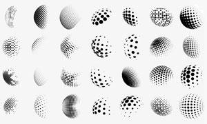 高清晰球状半调图案背景笔刷