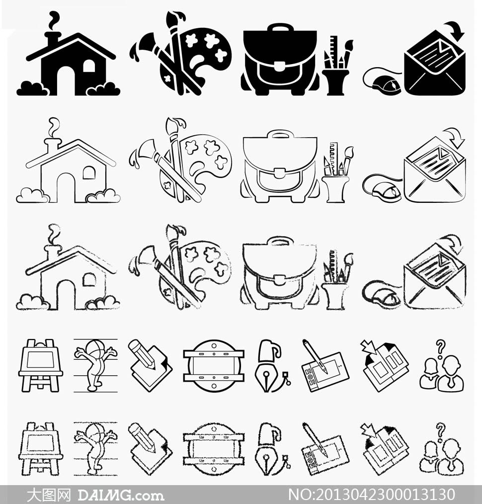 高清晰手绘图标笔刷 - 大图网设计素材下载