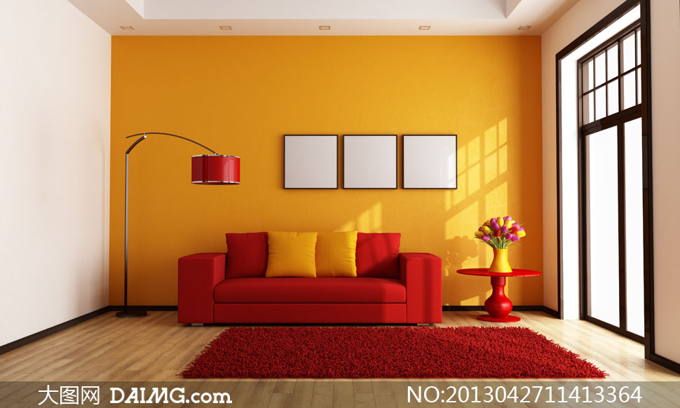 橙色墙壁红色沙发地毯摄影高清图片