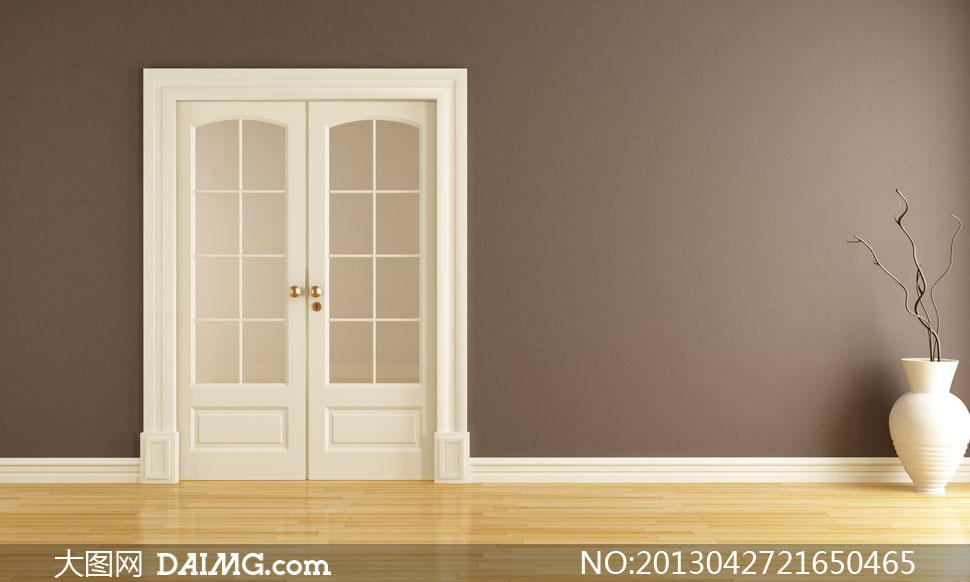 装修墙壁墙面房门木门欧式干枝白色棕色木地板装饰品