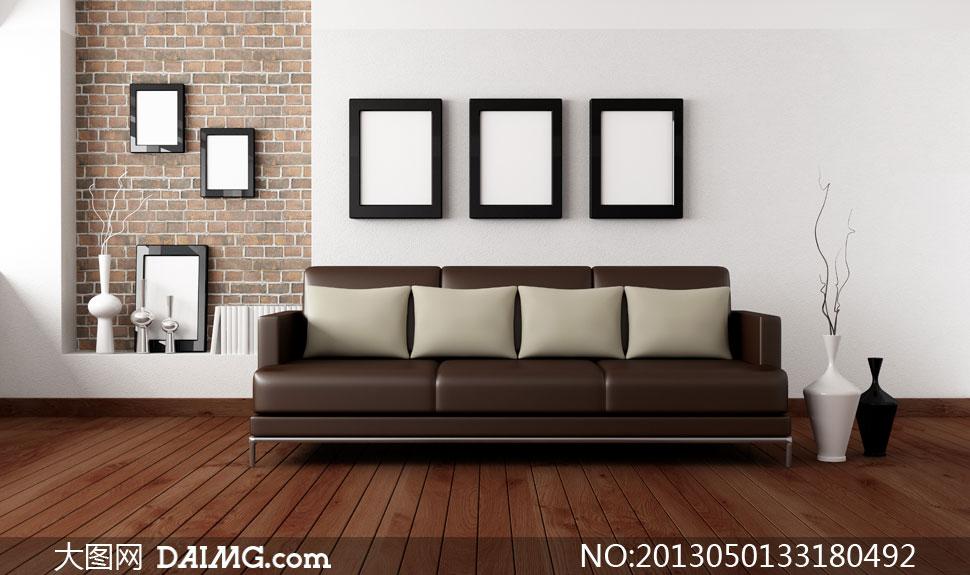装饰画框与沙发木地板摄影高清图片