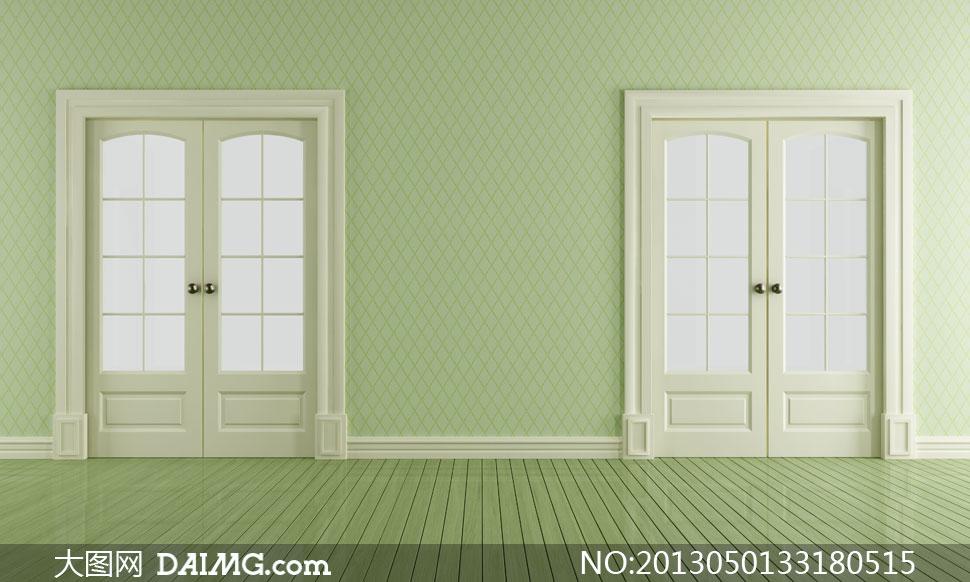 绿色房门墙壁木地板摄影高清图片