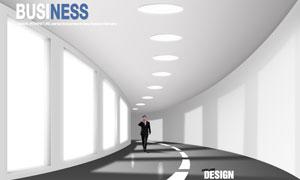 行走在長廊的職場人物PSD分層素材