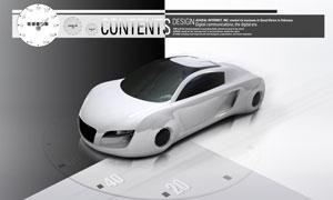 灰色概念型跑車俯瞰圖PSD分層素材