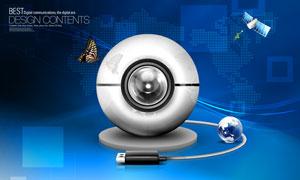 USB攝像頭與藍色背景PSD分層素材