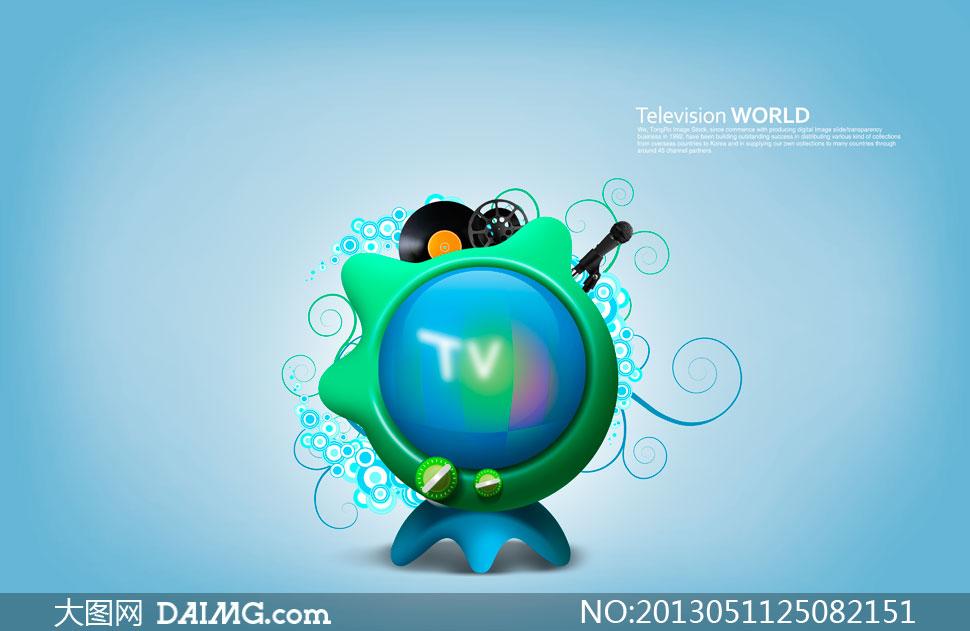 卡通电视机与图案创意设计psd素材
