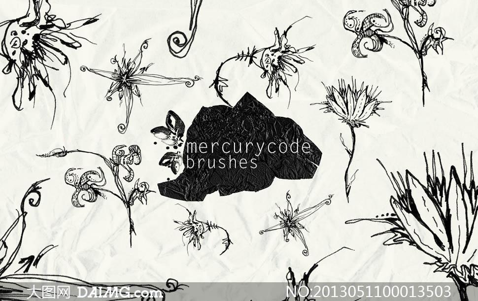笔刷名称:线描花卉笔刷,手绘花朵笔刷,花卉铅笔画photoshop; 线描花卉