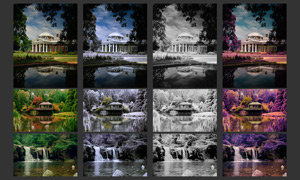 风景照片红外线效果和绚丽调色动作
