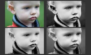 儿童照片黑白效果调色动作
