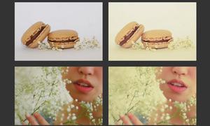 照片朦胧淡黄效果调色动作