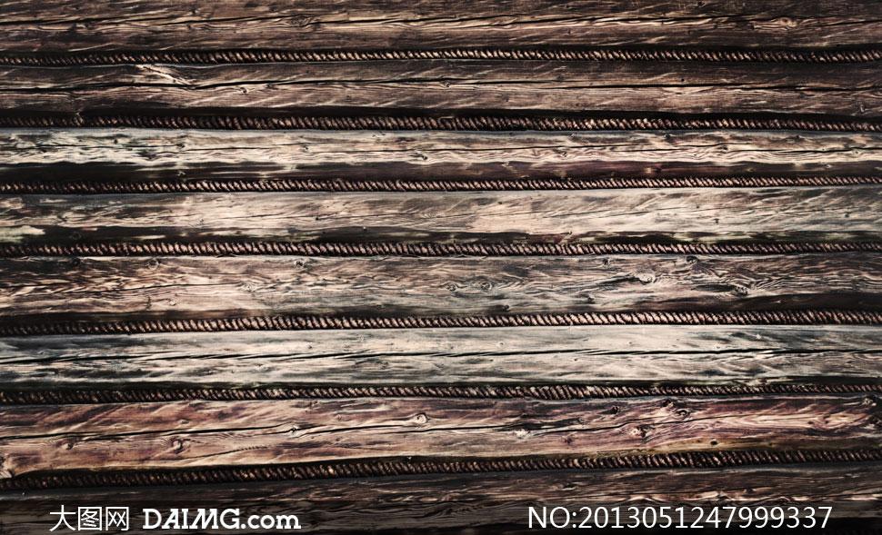 钢筋相间的木板条纹理摄影高清图片