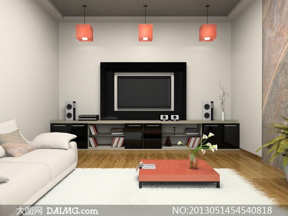 房间客厅电视柜与沙发摄影高清图片