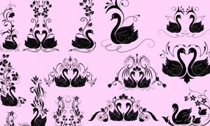 超美的天鹅花纹装饰笔刷