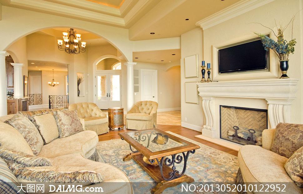 欧式风格房间家具陈设摄影高清图片
