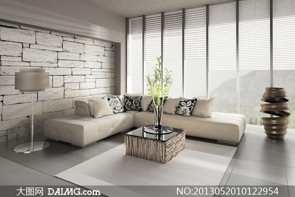 房间沙发抱枕与落地窗摄影高清图片