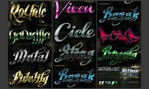 水晶质感的金属字体设计PS样式V3