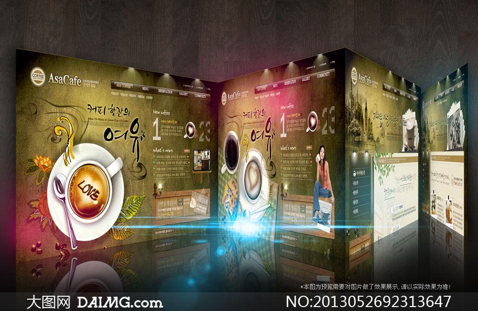 设计网页布局韩国模板灯光咖啡杯子汤匙复古怀旧背景饼干咖啡厅咖啡馆