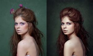 模特素顏妝照后期精修PSD調整圖層