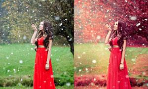 花下美女唯美玫红色色PSD调色图层