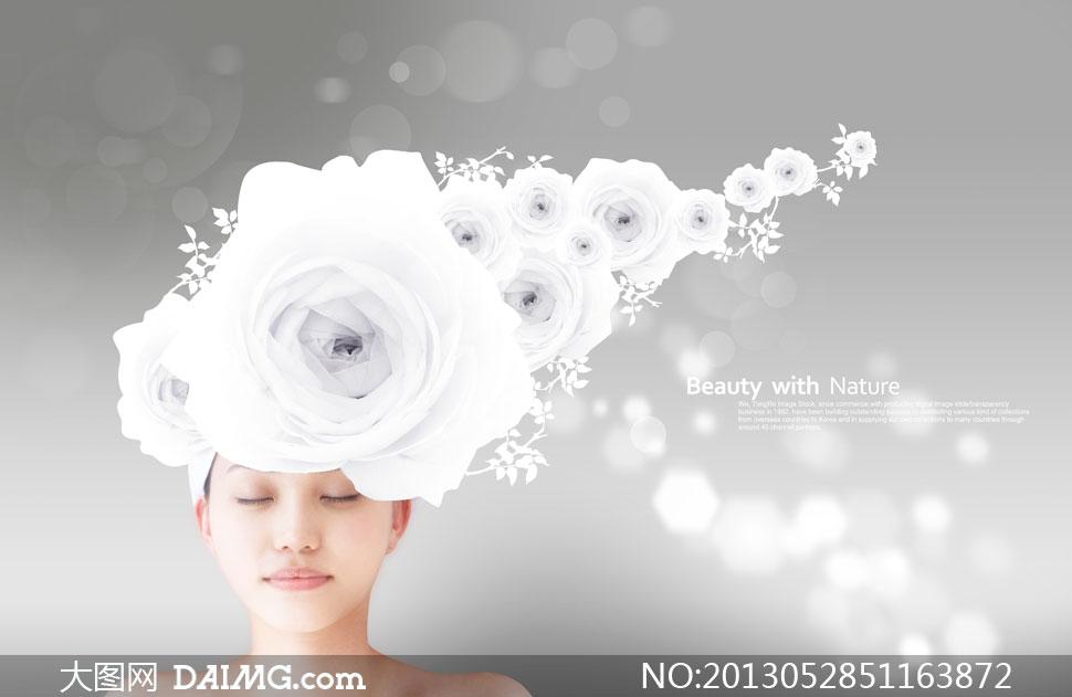 顶着玫瑰花头饰的美女PSD分层素材 大图网设