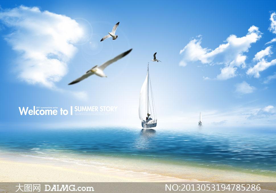 蓝天白云云层云彩多云天空海鸥飞鸟帆船船只海水大海