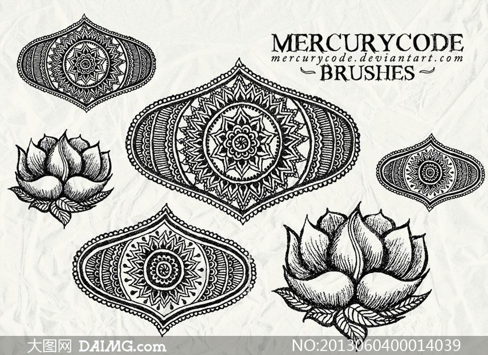 手绘铅笔画花朵装饰笔刷