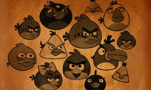 愤怒的小鸟全家福笔刷