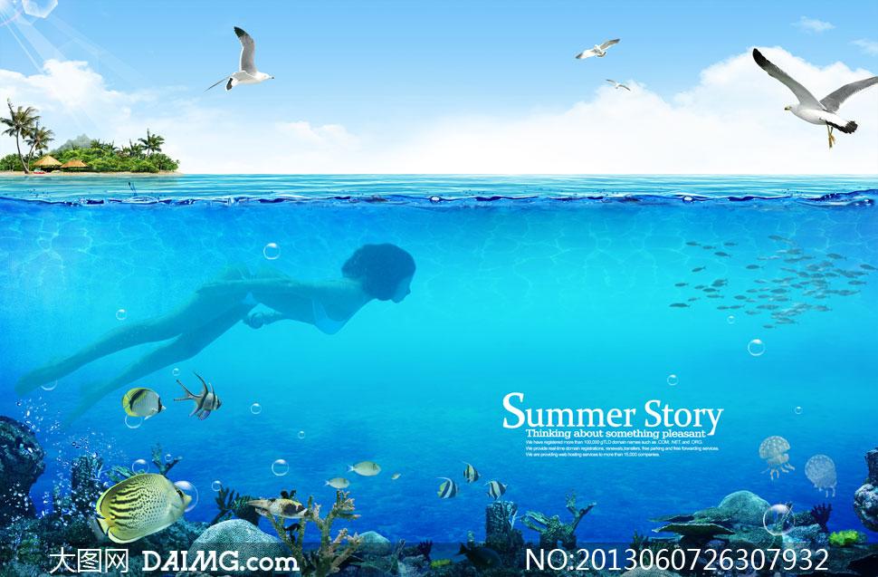 在水下潜水的美女人物PSD分层素材 大图网设