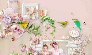 粉色系礼盒花环和动物等图片素材
