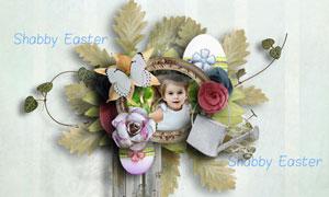 花草彩蛋和相框装饰等图片素材