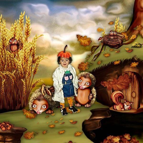 卡通松鼠和秋季风景等图片素材