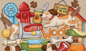 卡通宠物狗和狗粮等剪贴图片素材