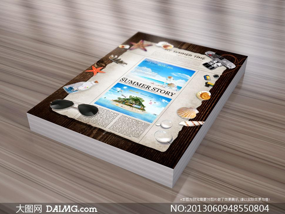 木板上的纸张海星等物psd分层素材