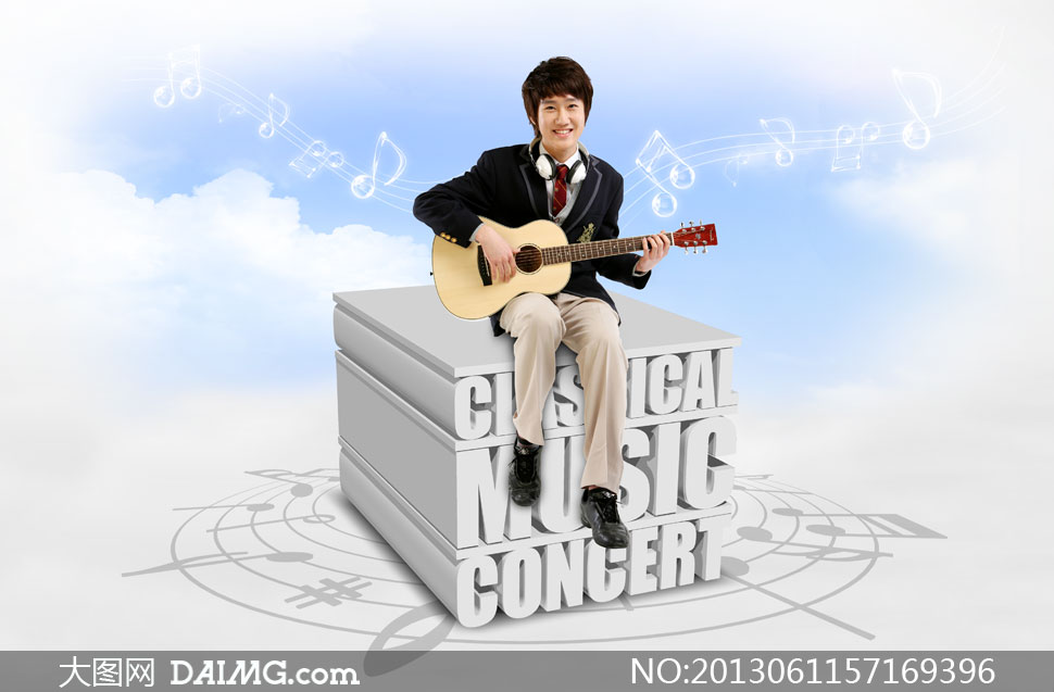 psd分层素材韩国素材no2人物学生男生男孩弹琴吉他